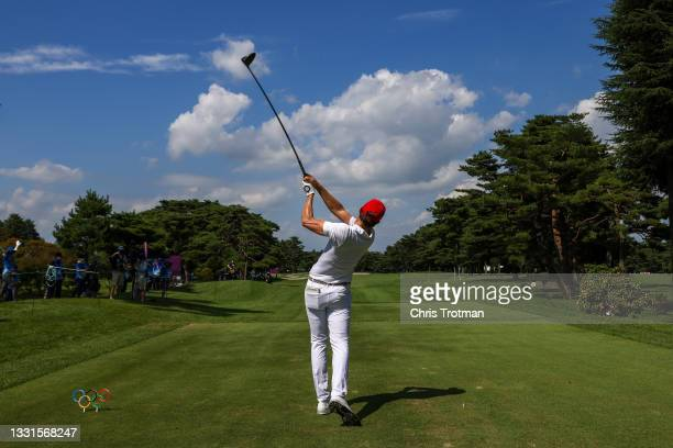 Carlos Ortiz of Team Mexico plays his shot from the 13th tee during the third round of the Men's Individual Stroke Play on day eight of the Tokyo...