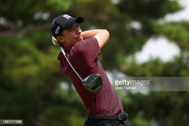 Carlos Ortiz of Team Mexico plays his shot from the 18th tee during the first round of the Men's Individual Stroke Play on day six of the Tokyo 2020...