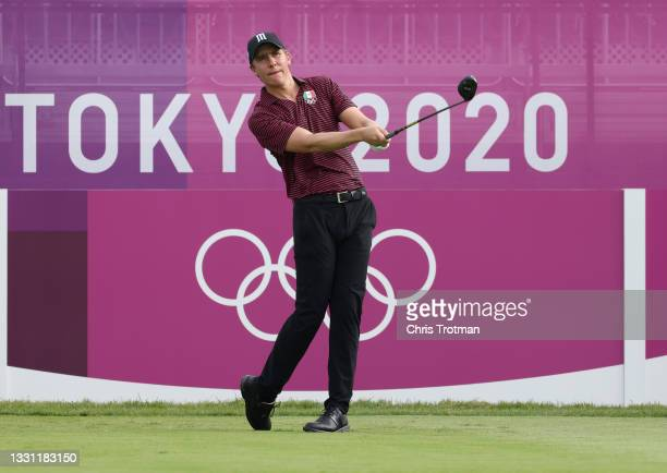 Carlos Ortiz of Team Mexico plays his shot from the first tee during the first round of the Men's Individual Stroke Play on day six of the Tokyo 2020...