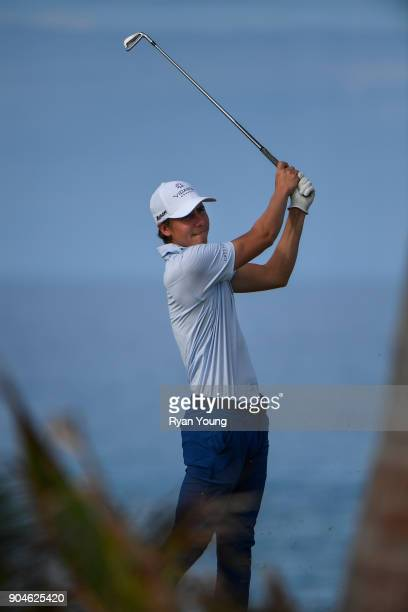 Carlos Ortiz plays his shot from the 14th tee during the first round of the Webcom Tour's The Bahamas Great Exuma Classic at Sandals Emerald Bay...