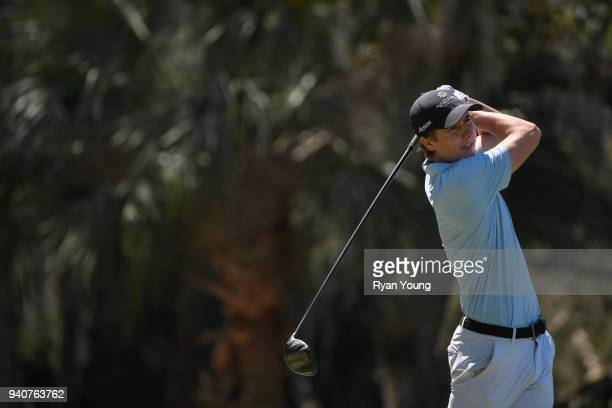 Carlos Ortiz plays his shot from the ninth tee during the final round of the Webcom Tour's Savannah Golf Championship at the Landings Club Deer Creek...