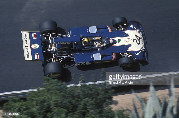 Carlos Pace of Brazil drives the Brooke Bond Oxo Team Surtees Surtees TS14A Cosworth V8 during the Monaco Grand Prix on 3rd June 1973 on the streets...