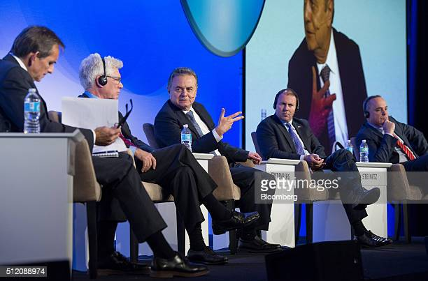 Carlos Pascual Senior Vice President of Global Energy and IHS Chair from left Jim Carr Canada's minister of natural resources Pedro Joaquin Coldwell...