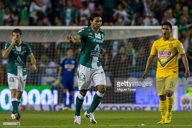 Carlos Pe–ña of Leon celebrates after scoring during the leg 1 of a Championship match between Leon and America as part of the Playoffs Apertura 2013...