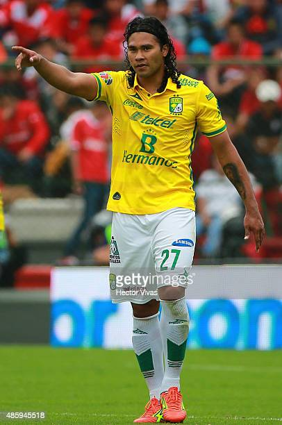 Carlos Peña of Leon celebrates after scoring the second goal of his team during a 7th round match between Toluca and Leon as part of the Apertura...