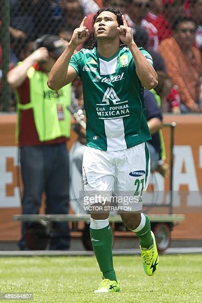 Carlos Peña of Leon celebrates his goal against Toluca during their Mexican Clausura tournament semifinal second leg football match at Nemesio Diez...