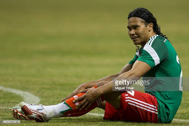 Carlos Pe–ña of Mexico reacts during a match between Queretaro and Pumas UNAM as part of the Clausura 2014 Liga MX at Corregidora Stadium on January...
