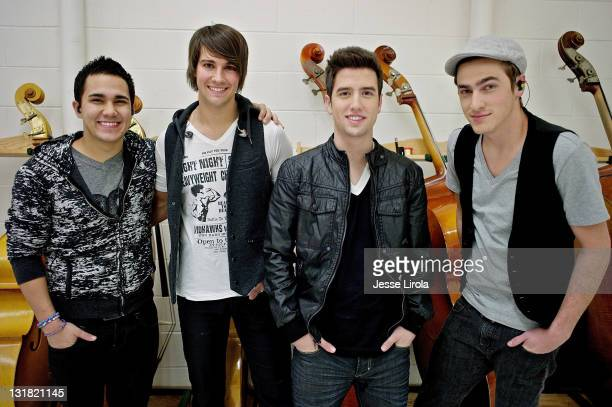 Carlos Pena James Maslow Logan Henderson and Kendall Schmidt of Big Time Rush are seen at Sycamore High School for their performance on October 29...