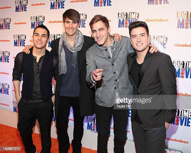 Carlos Pena Jr James Maslow Kendall Schmidt and Logan Henderson of Big Time Rush attend the Big Time Movie New York premiere at 583 Park Avenue on...