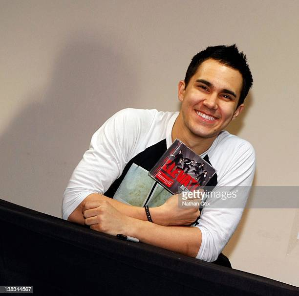 Carlos Pena Jr of Big Time Rush meets fans and signs copies of the new album 'Elevate' at HMV on February 6 2012 in Manchester England