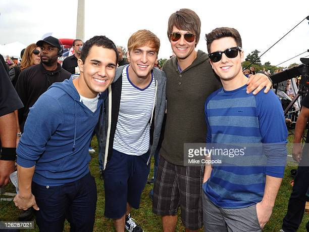 Carlos Pena Kendall Schmidt James Maslow and Logan Henderson of Big Time Rush celebrate Nickelodeon's largest ever Worldwide Day of Play at the...