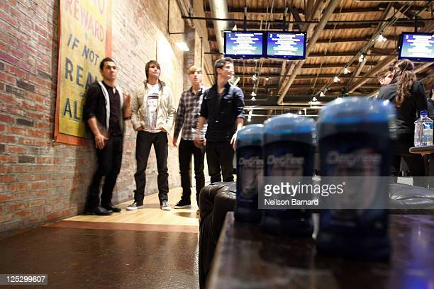 Carlos Pena Logan Henderson James Maslow and Kendall Schmidt of Nickelodeon's Big Time Rush attend the Big Time Rush Rocks Out with Confidence event...
