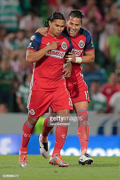 Carlos Pena of Chivas celebrates after scoring the first goal of his team during the 17th round match between Santos Laguna and Chivas as part of the...