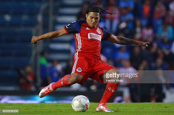 Carlos Pen–a of Chivas kicks the ball during the 2nd round match between Cruz Azul and Chivas as part of the Clausura 2016 Liga MX at Azul Stadium on...