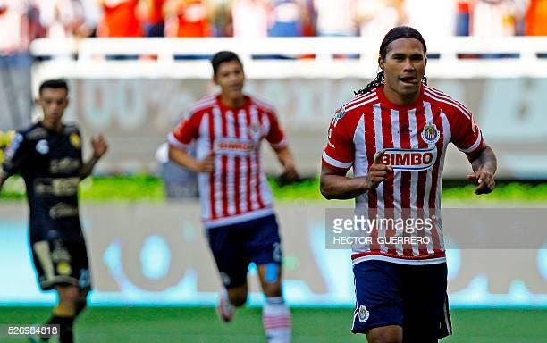 Carlos Pena of Guadalajara celebrates after scoring during their Mexican Clausura 2016 tournament football match against Dorados at Chivas stadium on...