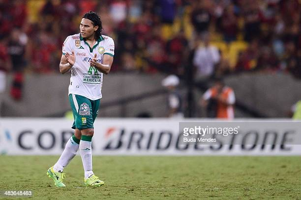 Carlos Pena of Leon celebrates a scored goal against Flamengo during a match between Flamengo and Leon as part of Copa Bridgestone Libertadores 2014...