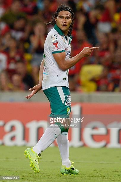 Carlos Pena of Leon celebrates a scored goal the third of his team during a match between Flamengo and Leon as part of Copa Bridgestone Libertadores...