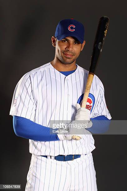 Carlos Pena of the Chicago Cubs poses for a portrait during media photo day at Finch Park on February 22 2011 in Mesa Arizona