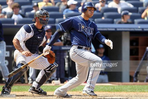Carlos Pena of the Tampa Bay Rays bats against the New York Yankees on July 18 2010 at Yankee Stadium in the Bronx borough of New York City