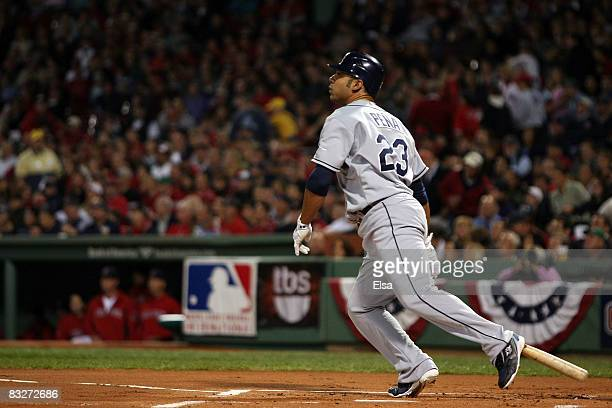 Carlos Pena of the Tampa Bay Rays hits a two-run home run in the first inning against the Boston Red Sox in game four of the American League...
