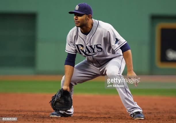 Carlos Pena of the Tampa Bay Rays plays first base against the Boston Red Sox in game three of the American League Championship Series during the...