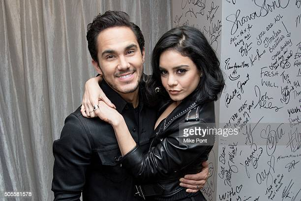 Carlos PenaVega and Vanessa Hudgens attend the AOL Build Speaker Series to discuss the television production of 'Grease Live' at AOL Studios In New...