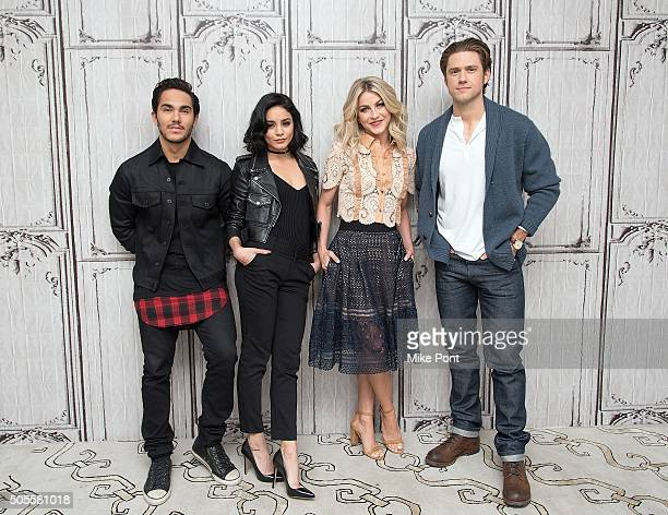 Carlos PenaVega Vanessa Hudgens Julianne Hough and Aaron Tveit attend the AOL Build Speaker Series to discuss the television production of 'Grease...