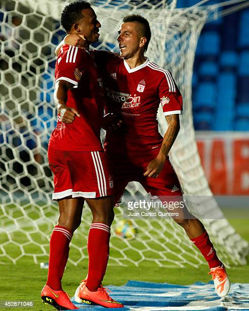 Carlos Peralta of America de Cali celebrates after scoring his team's second goal during a match between America de Cali and Cucuta as part of Torneo...