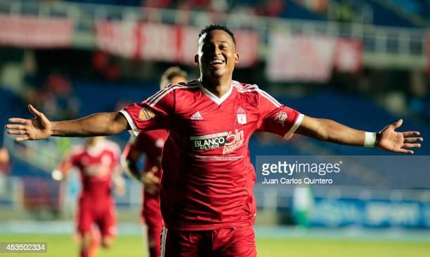 Carlos Peralta of America de Cali celebrates after scoring his teams second goal during a match between America de Cali and Jaguares as part of...