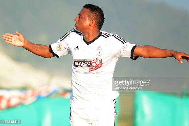 Carlos Peralta of America de Cali celebrates after scoring his team's first goal during a match between Union Magdalena and America de Cali as part...
