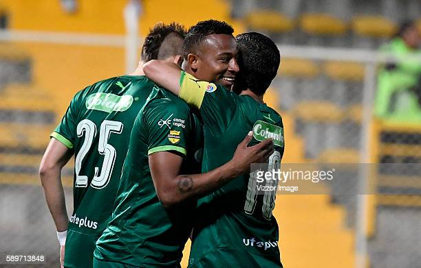 Carlos Peralta of La Equidad celebrates after scoring a goal during the match La Equidad v Deportivo Pasto as part of round 8 of Liga Aguila II at...