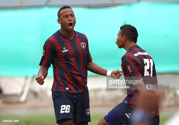 Carlos Peralta of Union Magdalena celebrates a scored goal during a match between Union Magdalena and America de Cali as part of 11th round of Liga...