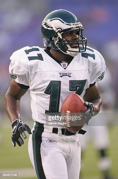 Carlos Perez of the Philadelphia Eagles warms up before the preseason game against the Baltimore Ravens at MT Bank Stadium on August 20 2005 in...