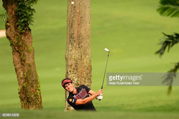 Carlos Pigem of Spain plays a shot during round one of the BANK BRIJCB Indonesia Open at Pondok Indah Golf Course on November 17 2016 in Jakarta...