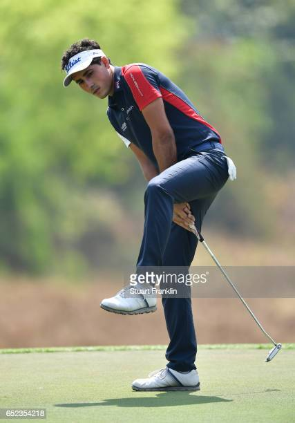 Carlos Pigem of Spain reacts to a putt during the final round the Hero Indian Open at Dlf Golf and Country Club on March 12, 2017 in New Delhi, India.
