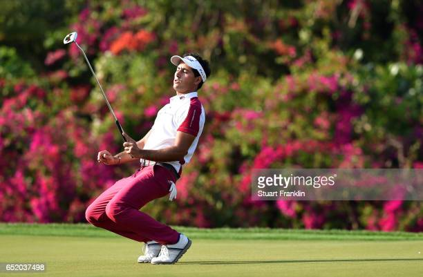 Carlos Pigem of Spain reacts to a putt during the third round of the Hero Indian Open at Dlf Golf and Country Club on March 11, 2017 in New Delhi,...