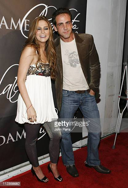 Carlos Ponce and Genesis Rodriguez during Telemundo's 'Dame Chocolate' Cast Premiere Party Arrivals at Lincoln Road in South Beach Florida United...