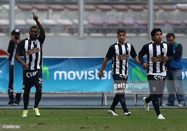 Carlos Preciado of Alianza Lima celebrates after scoring the second goal of his team during a match between Sporting Cristal and Alianza Lima as part...