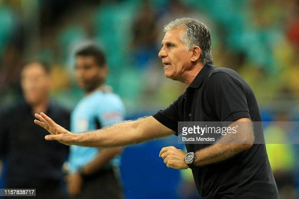 Carlos Queiroz coach of Colombia gestures during the Copa America Brazil 2019 group B match between Colombia and Paraguay at Arena Fonte Nova on June...