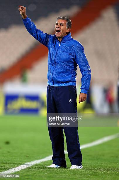 Carlos Queiroz coach of iran during AFC Asian Cup Qualifiers between Iran and Thailand at Azadi Stadium Tehran Iran on October 15 2013 in Tehran Iran