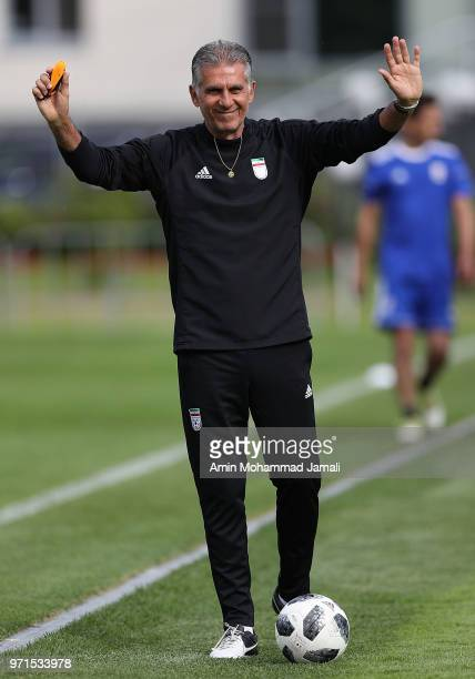 Carlos Queiroz coach of Iran gestures during Iran Training Session on June 11 2018 in Moscow Russia