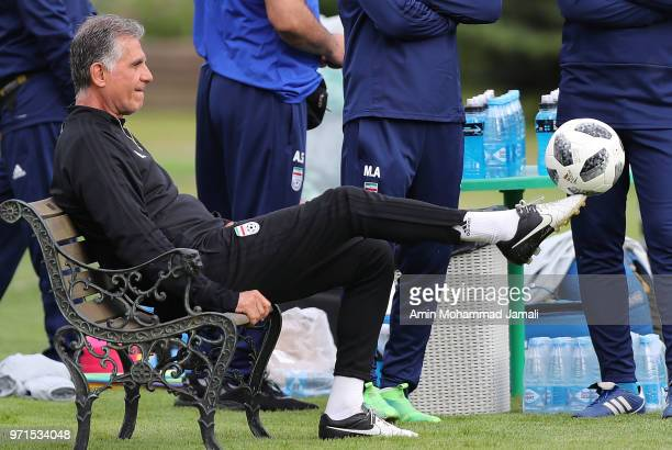 Carlos Queiroz coach of Iran looks on during Iran Training Session on June 11 2018 in Moscow Russia