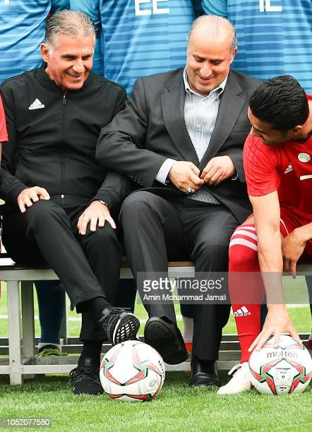 Carlos Queiroz Head coach and manager of Iran and Mehdi Taj president of Iran Football Federation look on during the Iran Training Session on October...