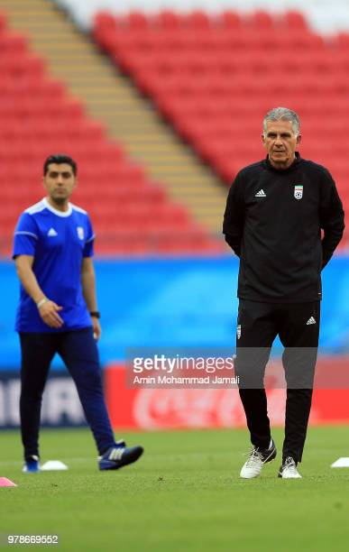 Carlos Queiroz head coach and manager of Iran looks on during a training session before the group B match between Iran and Spain FIFA World Cup...