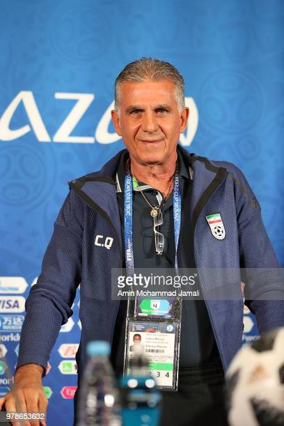 Carlos Queiroz head coach and manager of Iran looks on during a press conference before match between Iran Spain FIFA World Cup Russia 2018 at Kazan...