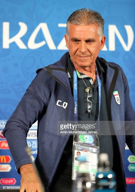Carlos Queiroz head coach and manager of Iran looks on during a press conference before the match between Iran and Spain FIFA World Cup Russia 2018...