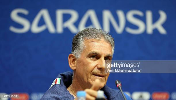 Carlos Queiroz head coach and manager of Iran looks on during a press conference before match between Iran & Portugal on June 24, 2018 in Saransk,...