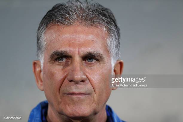 Carlos Queiroz Head coach and manager of Iran looks on during the international friendly match between Iran and Bolivia at Azadi Stadium on October...