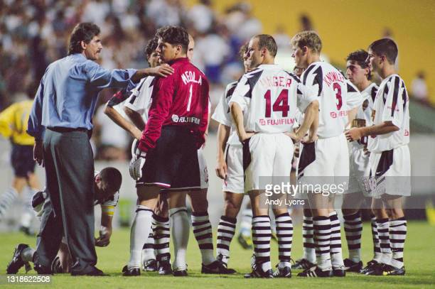 Carlos Queiroz, Head Coach for the New York/New Jersey Metrostars gives instructions to Goalkeeper Tony Meola and the team during the MLS Eastern...