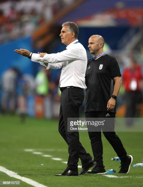 Carlos Queiroz Head coach of Iran appeals for a handball during the 2018 FIFA World Cup Russia group B match between Iran and Portugal at Mordovia...